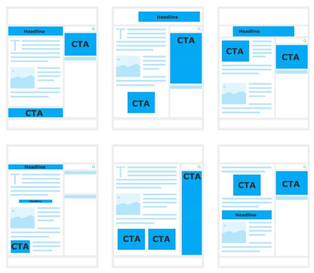 Content auf Webseiten. CTA und Headline anordnen